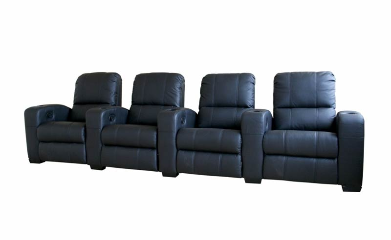Classic Movie Seating Sofa 4 Piece Set in Black - HT638