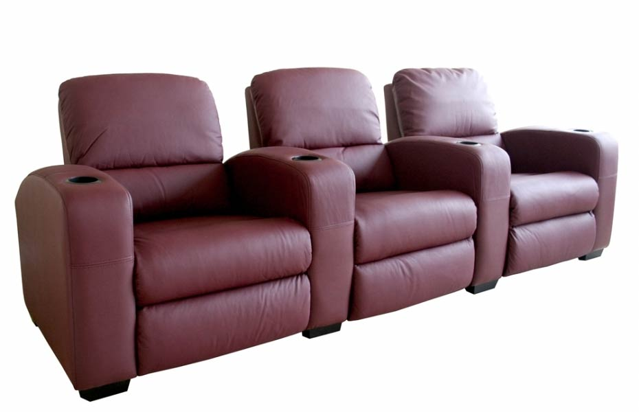 Classic Movie Seating Sofa 3 Piece Set in Burgundy - HT638