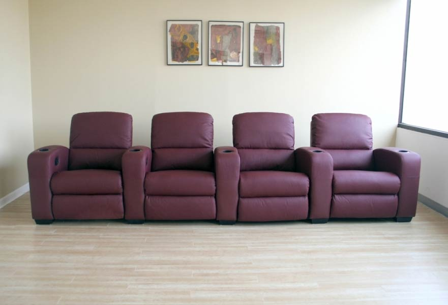 Classic Movie Seating Sofa 4 Piece Set in Burgundy - HT638